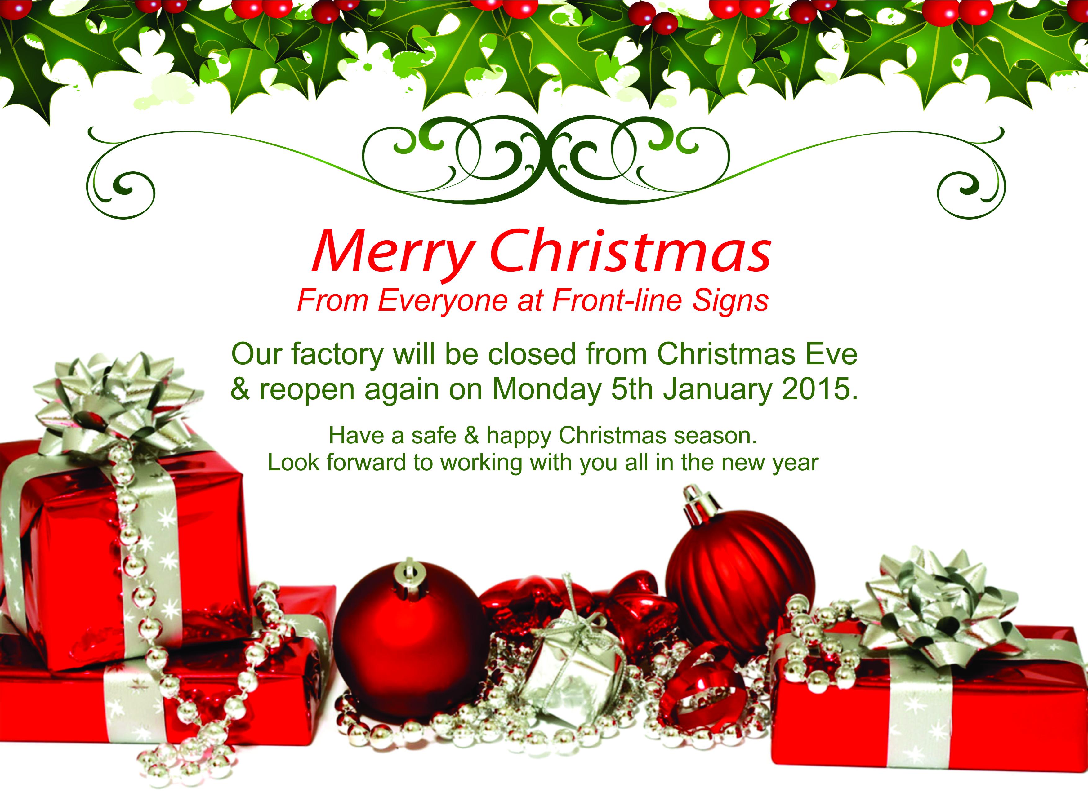 christmas holiday closed signs
